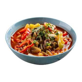 Изолированная миска восточного супа с лапшой лагман