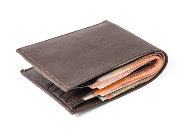 Isolated of brown leather wallet with money banknotes.