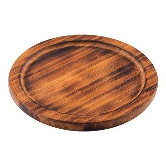 Изолированные сгоревшие деревянные сервировочные тарелки brpwn