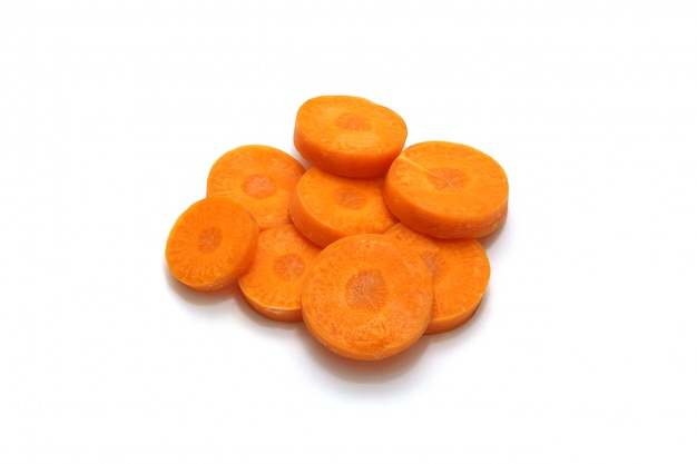 Isolated carrot sliced