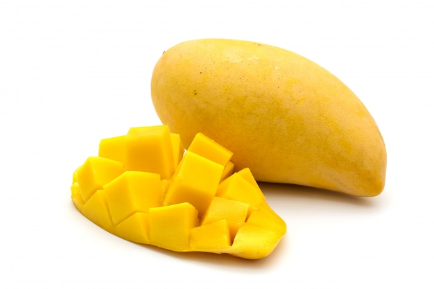 Isolated of carve beautiful yellow mango on white