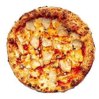 白地に孤立したチキンネオポリタンピザ