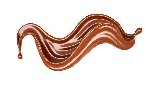 Изолированный выплеск шоколада на белизне.