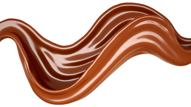白に孤立したチョコレートのスプラッシュ。 3dイラスト、3dレンダリング。