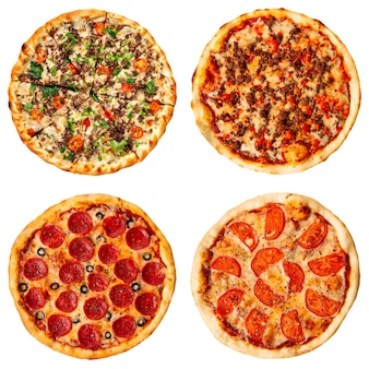 다양 한 종류의 피자의 고립 된 콜라주