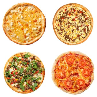 Изолированный коллаж из различных видов пиццы
