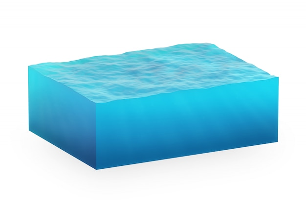 Isolated cube of water
