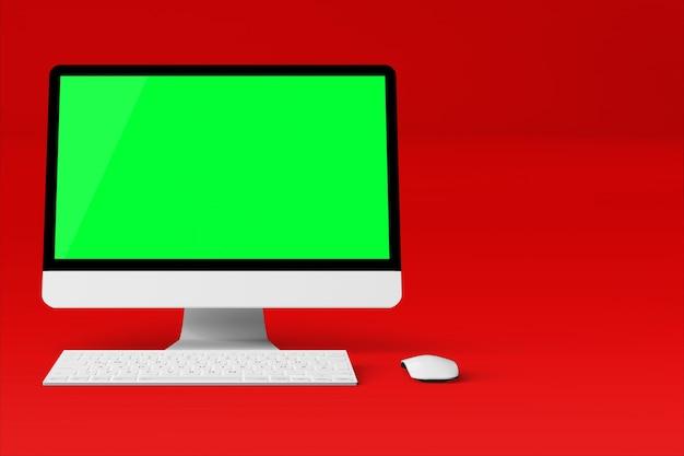 Изолированный рабочий стол с зеленым экраном на красном