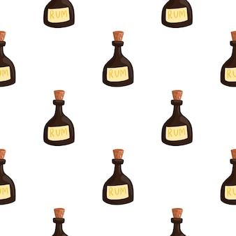 갈색 럼 병 요소와 격리 된 낙서 완벽 한 패턴입니다. 흰 바탕. 펍 음료 배경입니다. 패브릭 디자인, 섬유 인쇄, 포장, 커버용으로 설계되었습니다. 벡터 일러스트 레이 션.