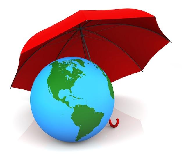 Изолированная земля и красный зонт 3d-рендеринга