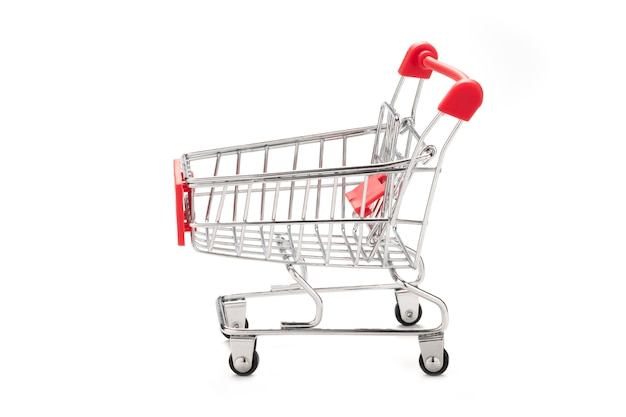 Isolated empty shopping cart on white background.