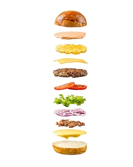 Isolated floating pineapple burger ingredients template on white