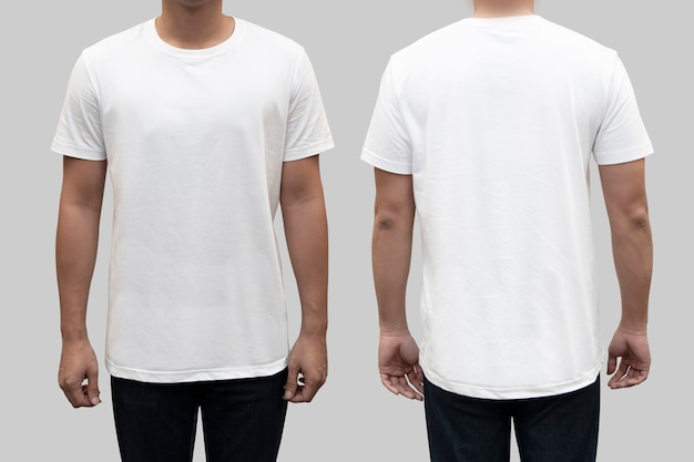 367c2823 Isolated front and back white t-shirt on a man body as a template for