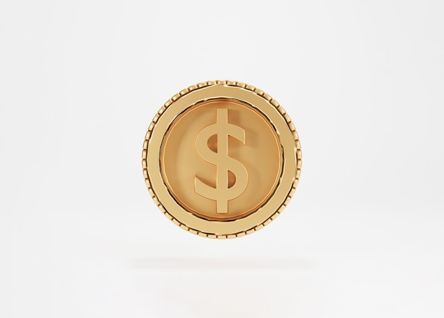 Isolated of golden us dollar coin on white background by 3d rendering concept.