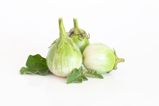 Isolated of green eggplant on white