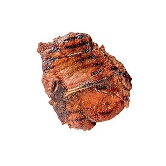 Изолированные на гриле стейк из говядины на белом