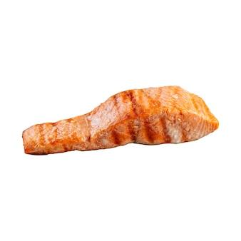 Изолированные на гриле филе лосося на белом