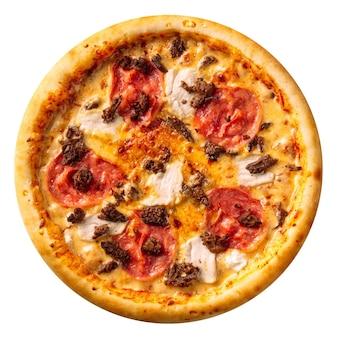Изолированные ветчина и куриная пицца