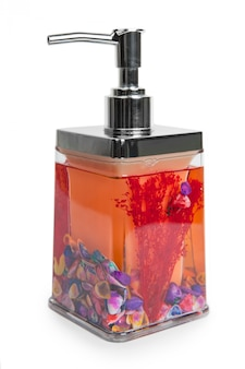Isolated hand sanitizer soap dispenser on white