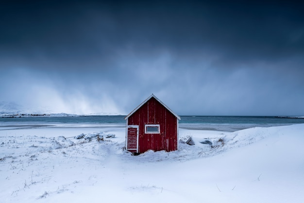 Isolated house in a snowy viilage