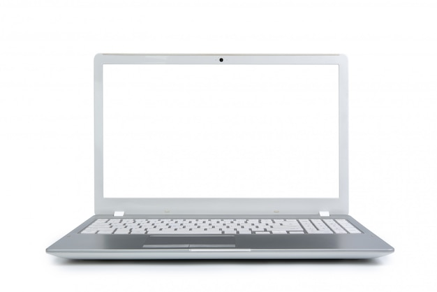 Isolated laptop with empty space on white background.
