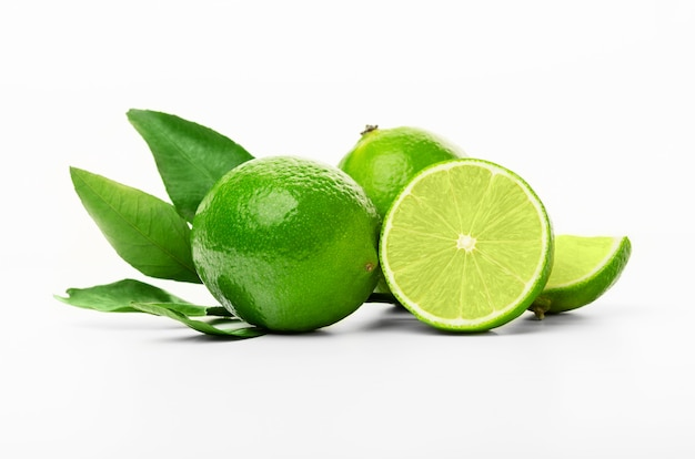 Isolated limes. fresh cut lime fruits isolated