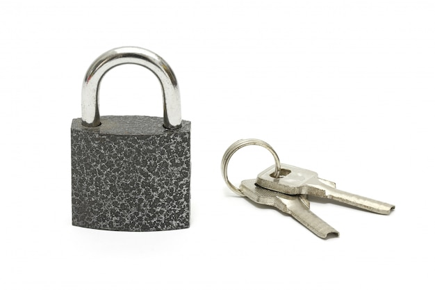 Isolated lock and key chain on white
