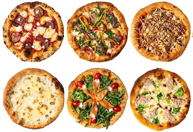 Изолированные много различных пиццы дизайн меню коллаж