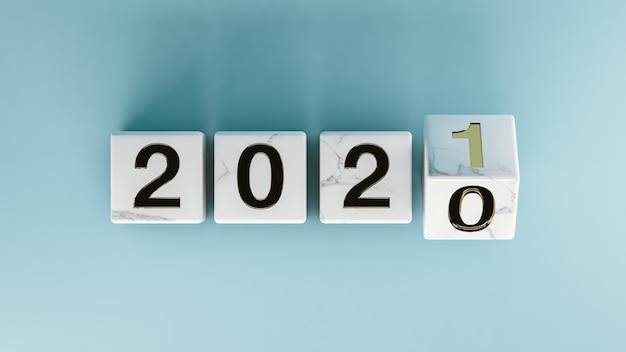 Изолированные мраморные кубики с новым годом 2021 на синем фоне