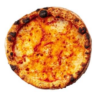 白の孤立したマルゲリータネオポリタンピザ