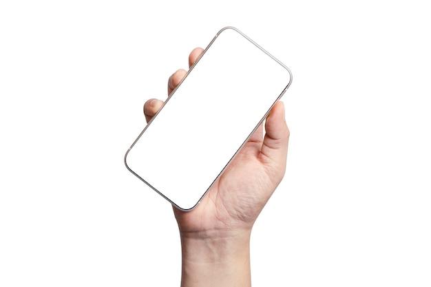 빈 화면 프레임 스마트 폰 들고 손의 절연