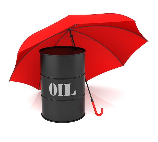 Изолированный бочонок нефти и красный зонтик. 3d-рендеринг