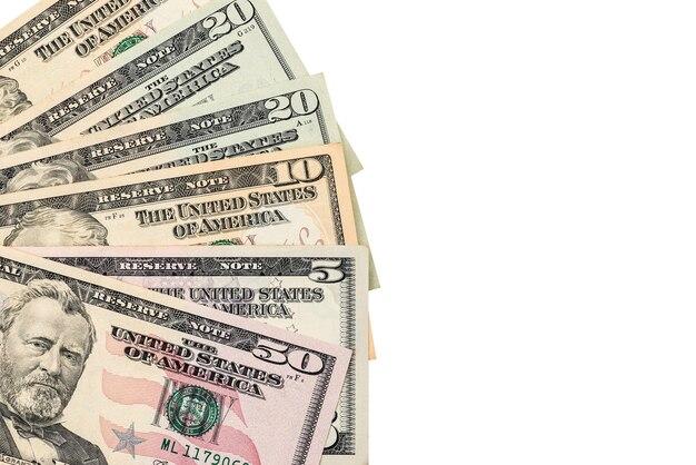 白い表面のドル紙幣に分離