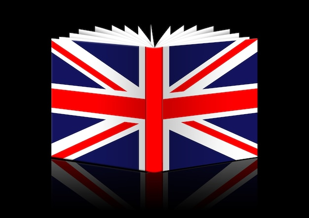 Изолированные открытая книга с изображением флага великобритании