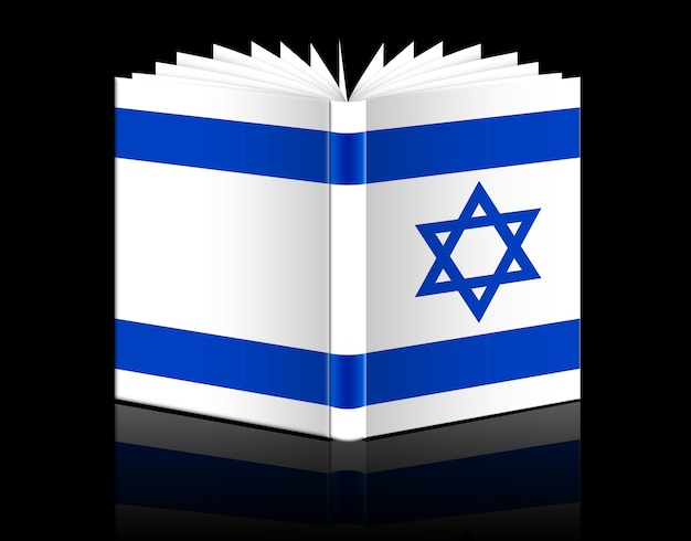 Isolated open book depicting israel flag
