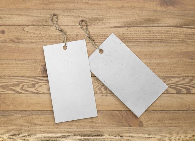 Isolated pack of labels with jute strip