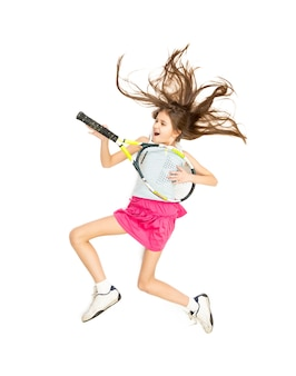 Isolated photo from high point of view of girl jumping high and playing on tennis racket as on guitar