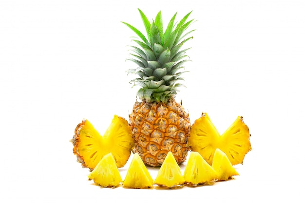 Isolated of pineapple fruit sliced on white Premium Photo