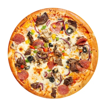 Isolated pizza with beef meat on the white