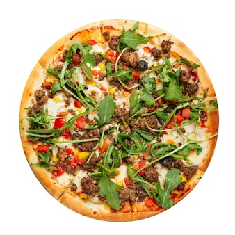 Isolated pizza with minced meat and arugula