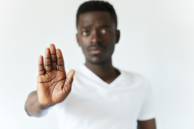 Isolated portrait of young african american male