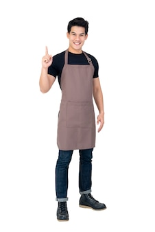 Isolated portrait of a young attractive male asian barista