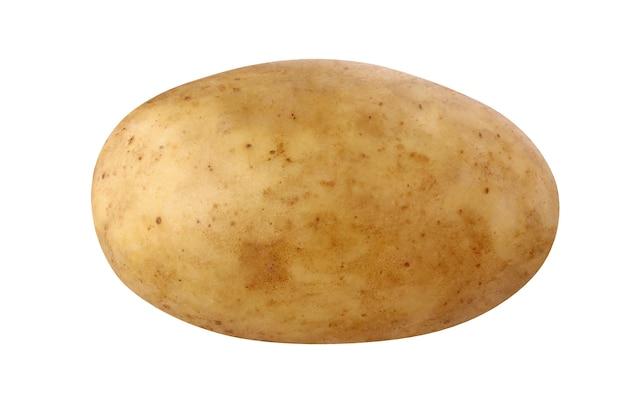 孤立したジャガイモ。クリッピングパスで白い背景に分離された1つのジャガイモ。全野菜、根菜、具材。