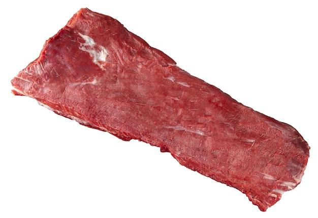 흰색 배경에 고립 된 원시 쇠고기 허리 고기 부분