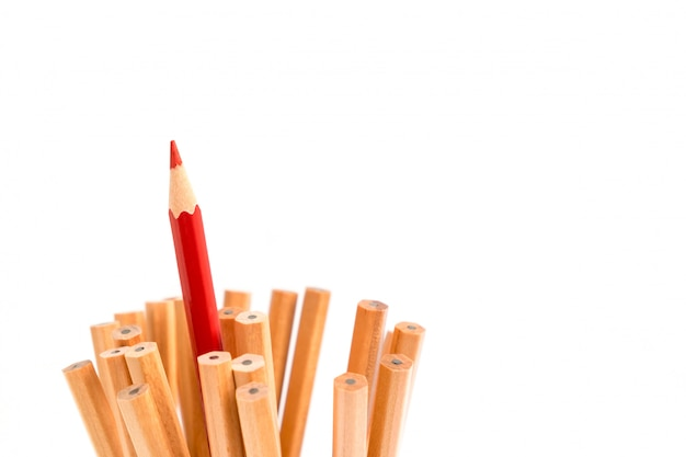 Isolated red colored pencil stand out of other brown pencils