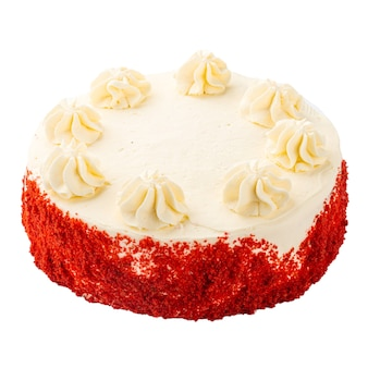 Isolated red velvet sponge cake with cheese cream