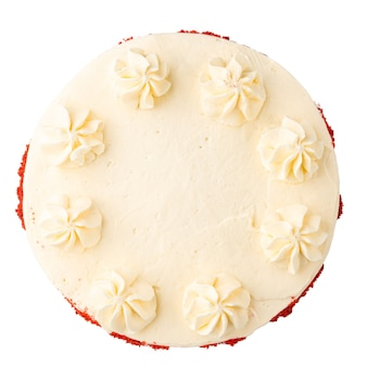 Isolated red velvet sponge cake with cheese cream