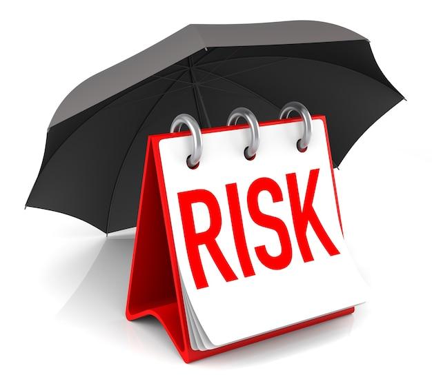 Концепция изолированных рисков с зонтиком. 3d-рендеринг