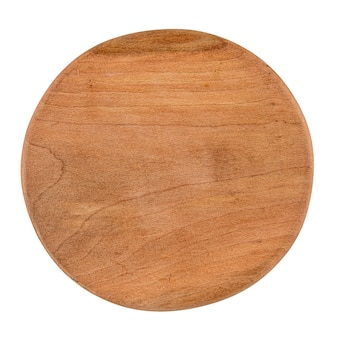 Isolated round wooden cutting board on white