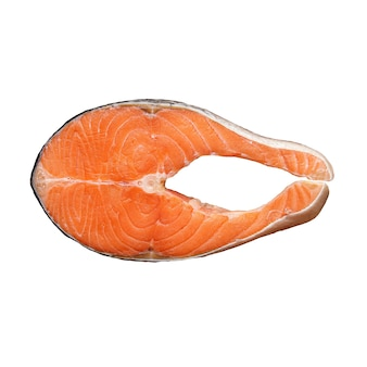 Изолированные стейк из лосося на белом фоне